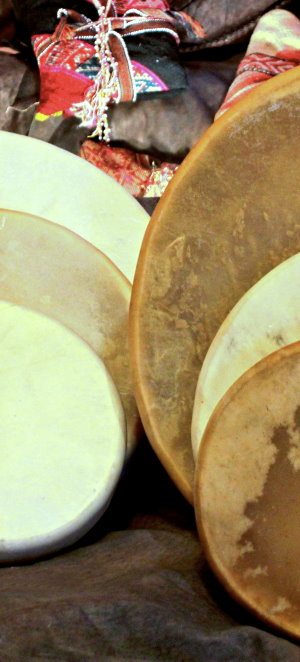 Hand Made Native American Drums Deerskin Elkskin